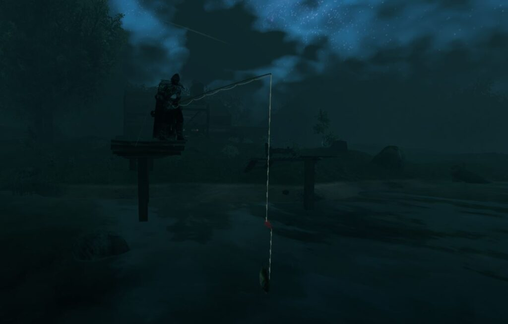 Having a fish on the hook in Valheim ready to reel in