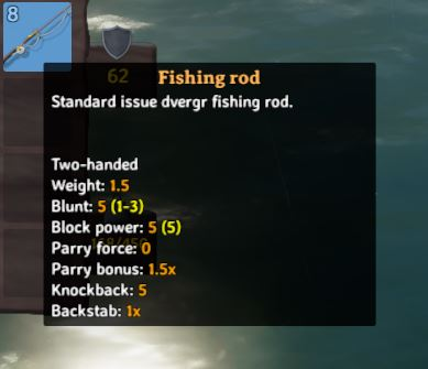in-game description for the fishing rod in Valheim which reads, 'Standard issue dverge fishing rod.'