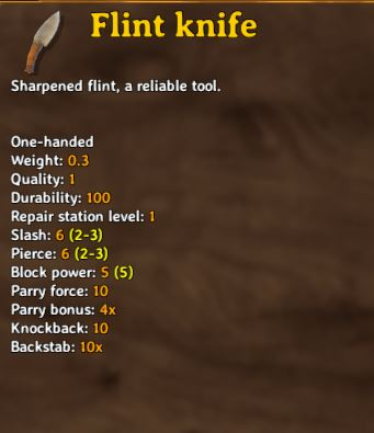 the flint knife is a useful weapon for backstabbing in valheim