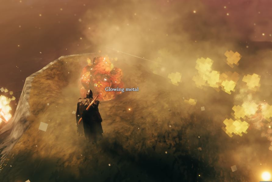 Glowing metal in Valheim which can be found in the Ashlands
