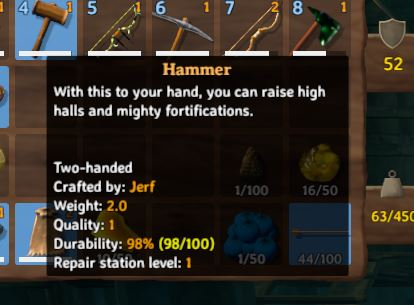 The in-game description for the hammer in Valheim