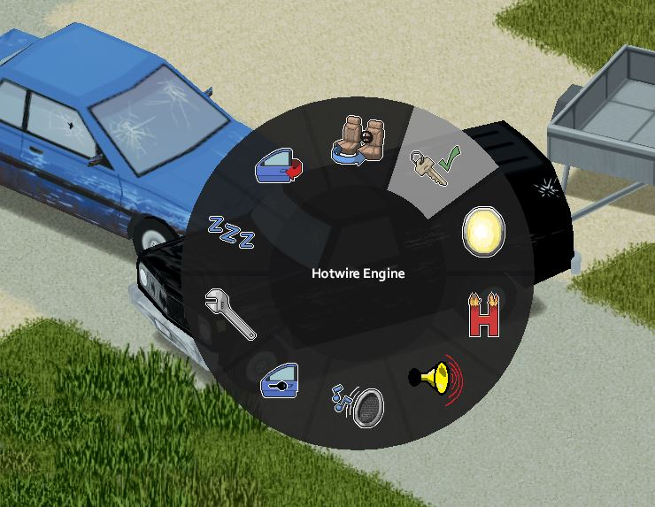 Hotwiring an engine in Project Zomboid Build 41