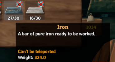 The in-game description for iron in Valheim