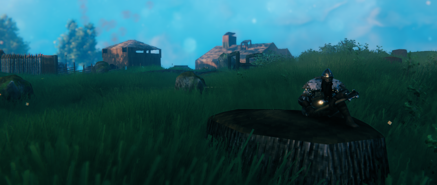 screenshot of a player using an iron mace in Valheim