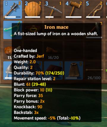 Crafting the iron mace using iron in Valheim