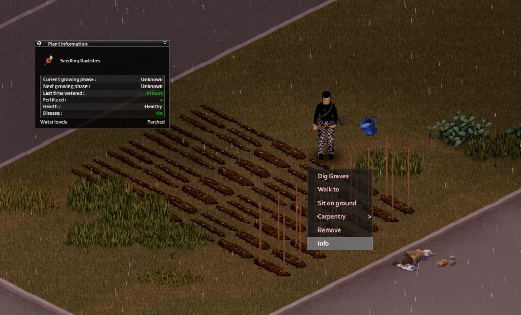 The plant information sheet in Project Zomboid gives you insight on to how your farming is going