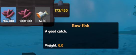 the in-game description for raw fish in valheim