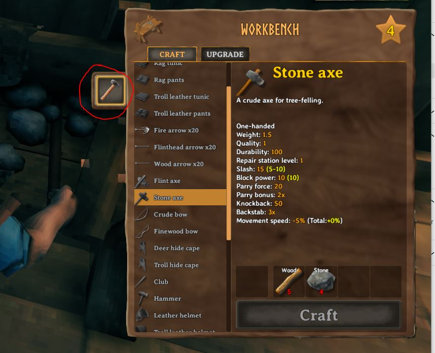 You can repair the axe from the workbench in valheim