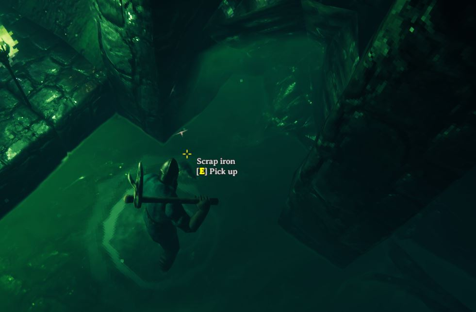 A image of scrap iron in a sunken crypt in Valheim. One of the many metals in the game