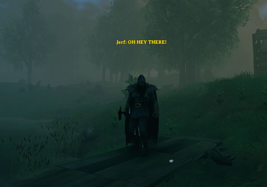 using the shout chat in Valheim to send a message to the whole server