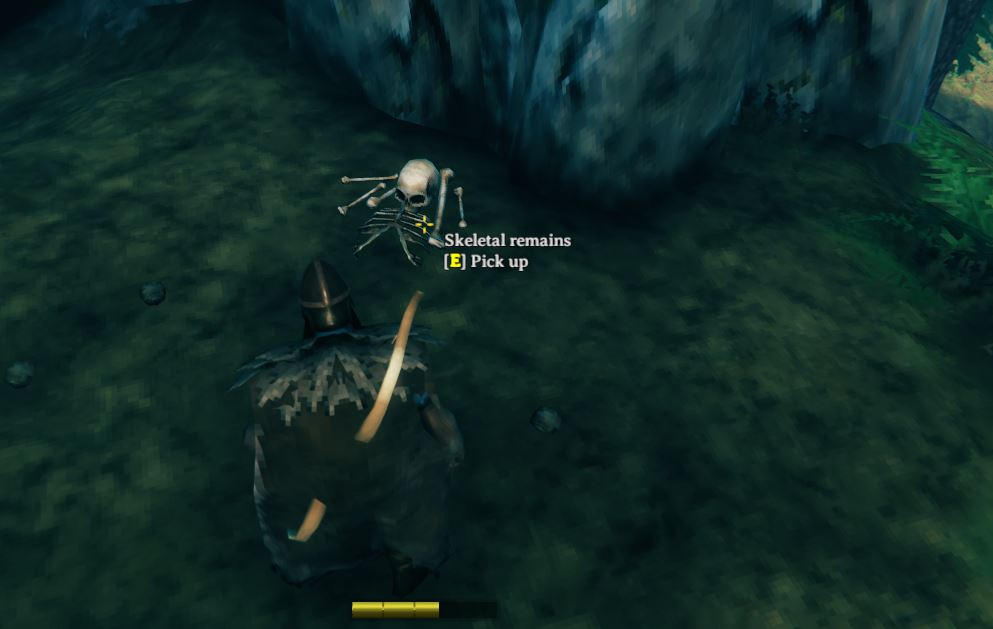 Interacting with skeletal remains will reward you with bone fragments