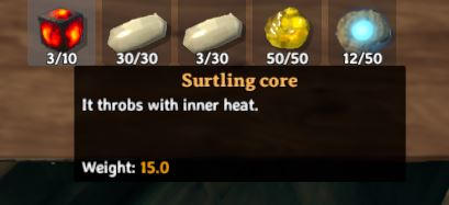 """The in-game description in Valheim for surtling cores reads: """"It throbs with inner heat"""""""