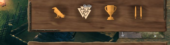 Displaying the button used to open up the skill menu on the Valheim in-game UI