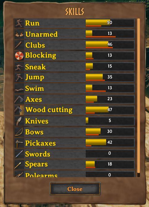 The skill menu from Valheim