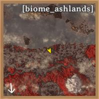 an in-game minimap in valheim showing a part of the ashlands biome