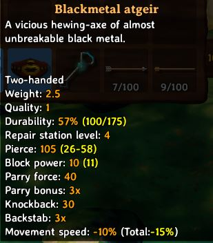 showing the in-game tooltip for the Blackmetal Atgeir in Valheim which include stats on the weapon such as damage and block ability