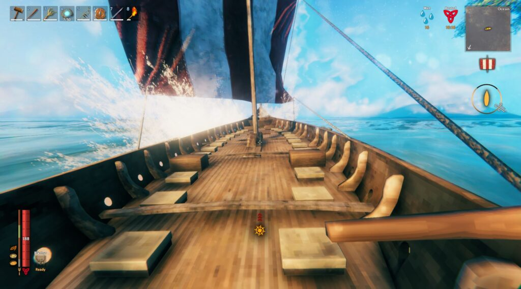 sailing the longship in first person in Valheim