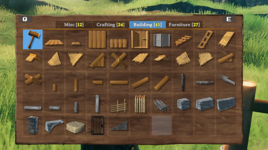 The stone building menu accessed by using the hammer in Valheim