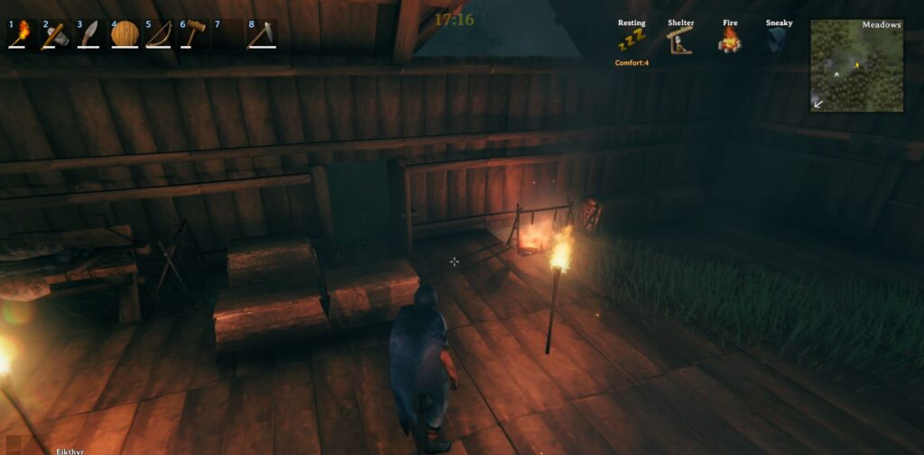 Showing off the clock mod in-game in Valheim. The mod adds the current time display at the top of the screen