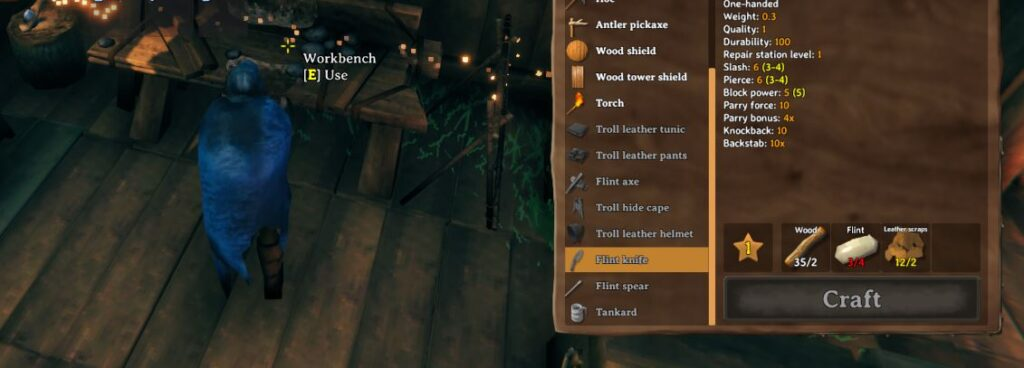 showing the effects of the craft and build from containers mod for Valheim