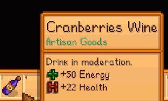 """descripción en el juego del vino de arándanos en la lectura de Stardew Valley """"Beber con moderación"""""""