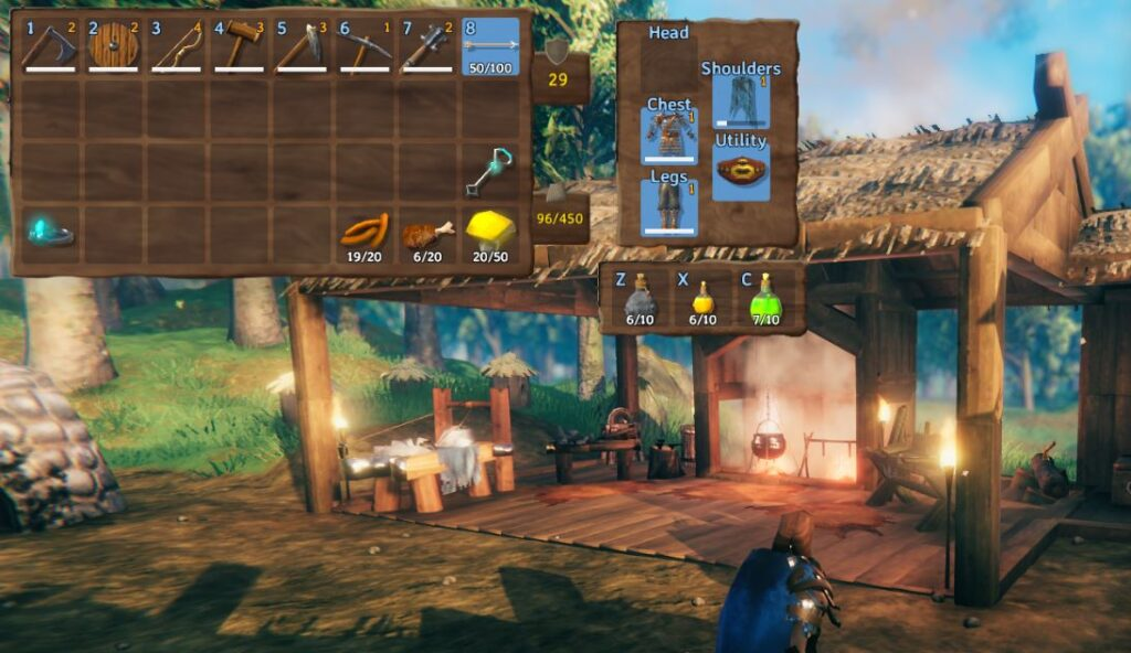 an in-game screenshot for the equipment and quick slots mod in Valheim. The mod adds 2 new gear menus in Valheim, one for armor and one for 3 quick actions