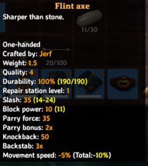 Flint axe in-game description and stats from Valheim