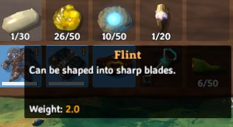 flint in-game description for Valheim which reads: 'Can be shaped into sharp blades. Weight: 2.0'