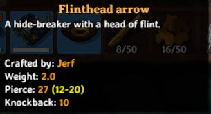 the in-game description for flinthead arrows in valheim
