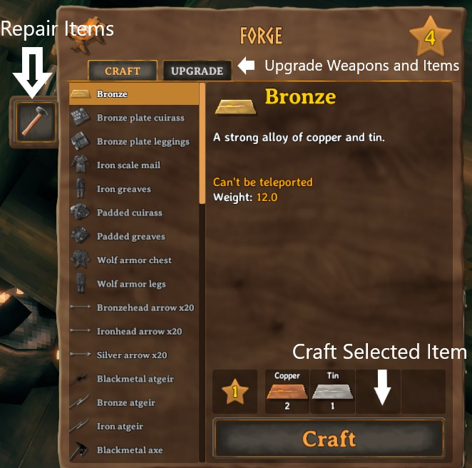 The different buttons and options available in the forge crafting menu in Valheim