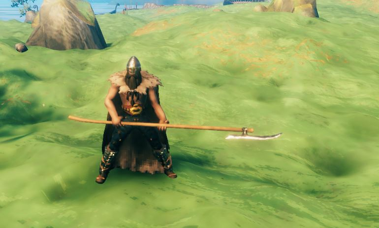 a player holding the iron atgeir in Valheim
