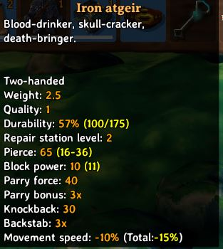 The in-game tooltip for the iron atgeir as seen in Valheim. This shows the weapon's stats, durability and buffs