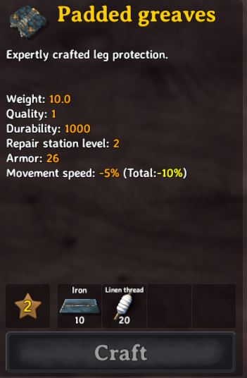 the stats for the padded greaves. These are the best leg armor in Valheim
