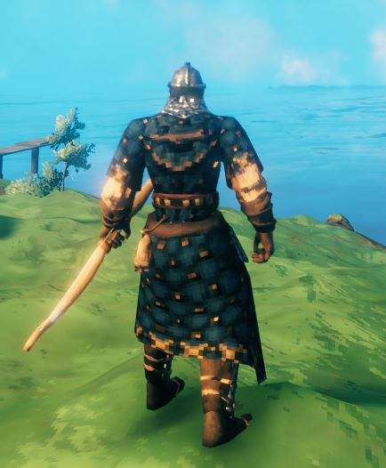 showing the in-game model for the best armor in Valheim,