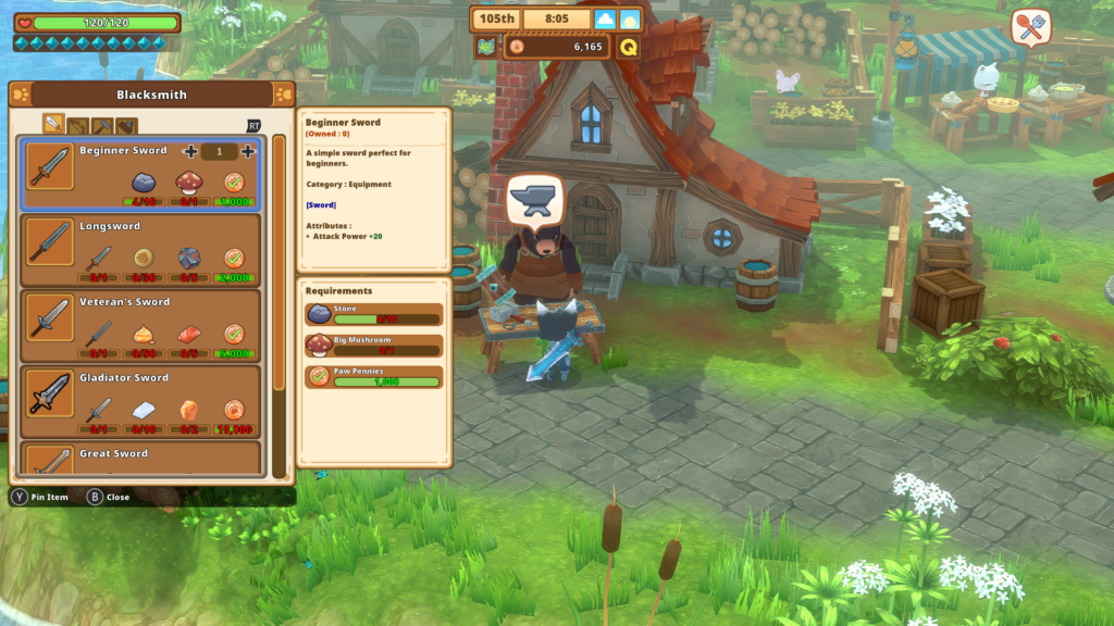Buying more equipment in kitaria fables from the blacksmith