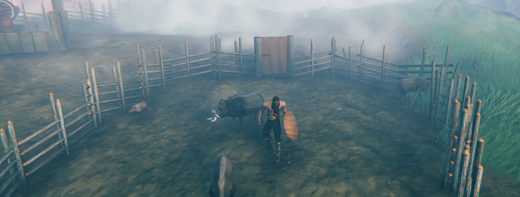 solo player taming boars and other creatures in Valheim as a farmer