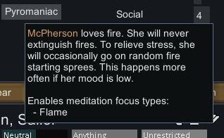 La descripción en el juego del rasgo pirómano en Rimworld, una buena razón para desterrar a un colono.