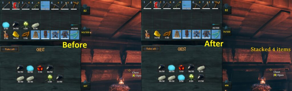 Showing a before and after image of a player using the quick stack mod in Valheim to sort their inventory