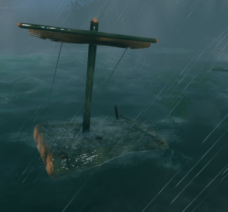 The raft in a storm in valheim