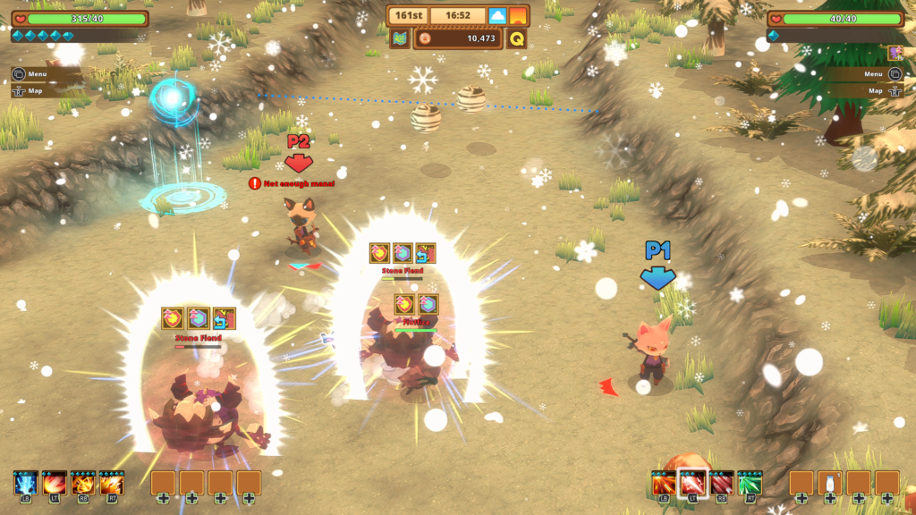2 cat characters from kitaria fables battling enemies in couch co-op