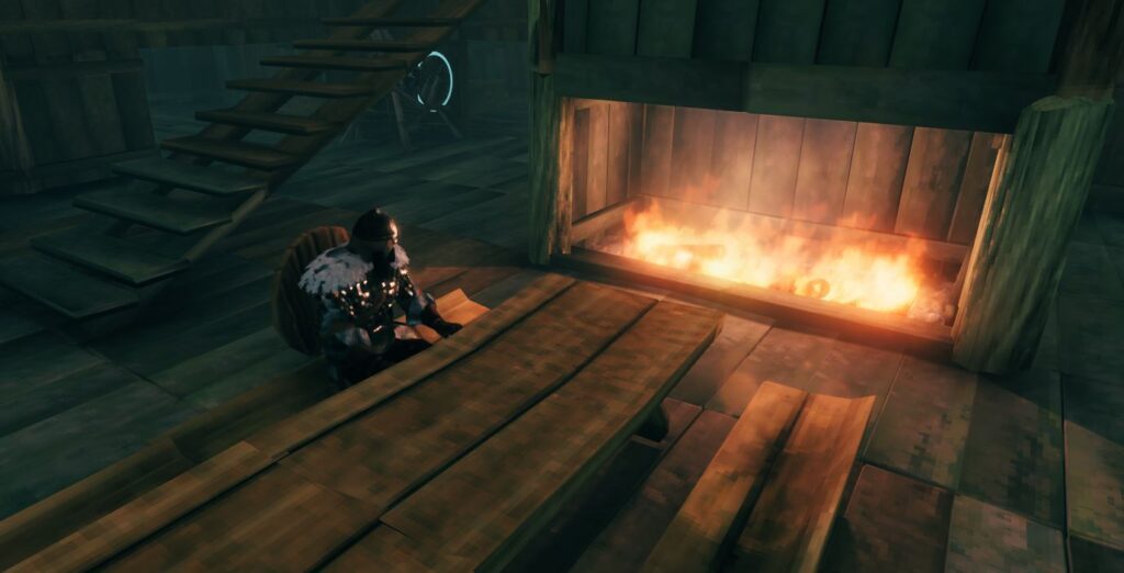 Valheim server are not region locked. This player is sitting at a campfire on a bench