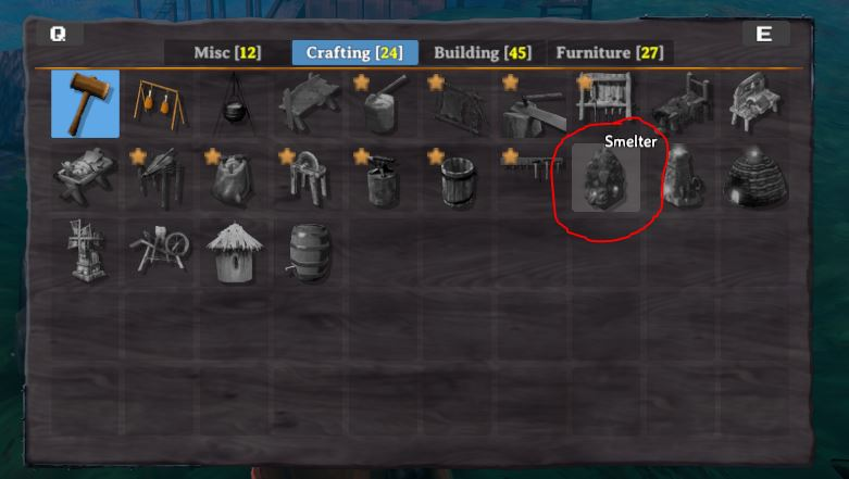 The crafting tab in the hammer's build menu is where the smelter can be built from