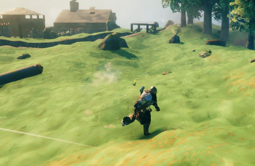 a character moving faster by utilizing the sprint function in Valheim