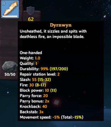 in-game information for the fire sword, Dyrnwyn in Valheim
