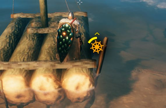 The indicated for turning the raft or ship left and right in Valheim ship controls