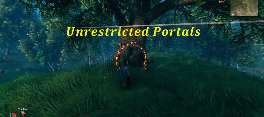 The banner image for the unrestricted portals mod, unable on Valheim
