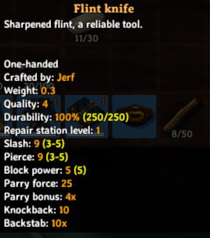 the in-game description and stats for the flint knife level 4 in Valheim