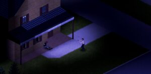 A player attacking a zombie in project zomboid
