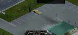 Showing a taxu vehicle within project zomboid
