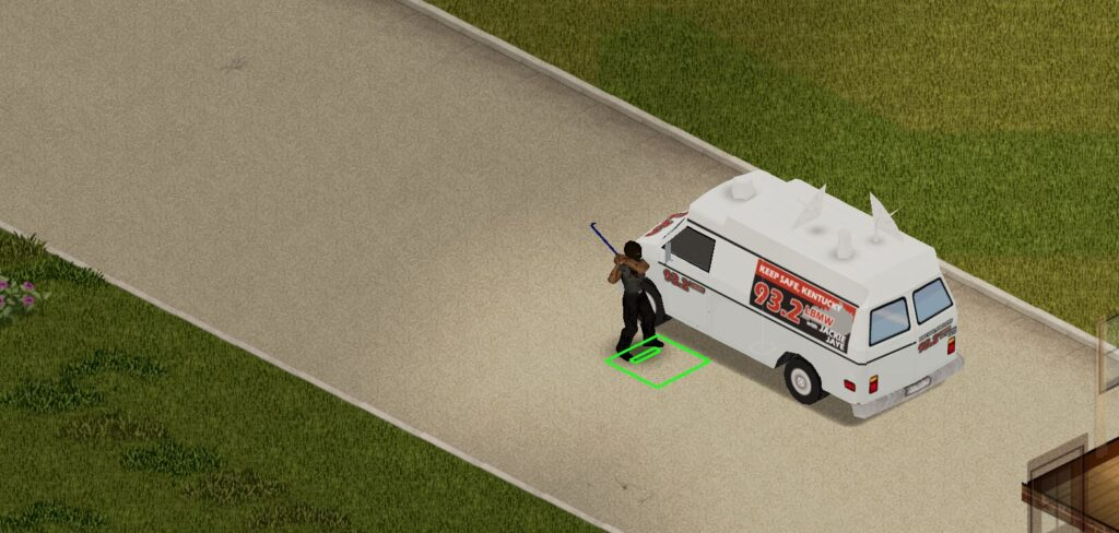 breaking into a news van in Project Zomboid Build 41